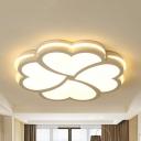Contemporary Heart Petal Ceiling Lamp Acrylic Warm/White Lighting LED Flush Mount Light in White for Bedroom