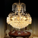 Villa Restaurant Dome Pendant Lamp Glamorous Crystal Luxurious Gold Finish Chandelier Light