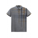 Mens Stylish Ombre Plaid Printed Short Sleeve Casual Fitted Polo Shirt