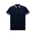 Mens New Fashion Striped Trim Three-Button Front Short Sleeve Casual Business Polo