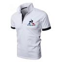 Mens Summer Hot Popular Simple Letter Logo Print Contrast Trim Short Sleeve Casual Polo Shirt