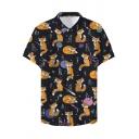 Cute Cartoon Fox Pattern Summer Guys Holiday Short Sleeve Beach Hawaiian Shirt