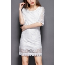 Womens Chic Simple Plain Round Neck Mini Sheath Hollow Lace Dress with Lining