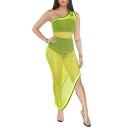 Womens Summer Hot Popular One Shoulder Sleeveless Hollow Mesh Fishnet Maxi Bodycon Dress