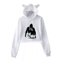 Cool Figure Letter ON MY WAY Printed Cat Ear Design Long Sleeve Cropped Hoodie
