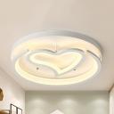 Loving Heart Crescent Bedroom Ceiling Lamp Acrylic Modern LED Flush Ceiling Light in Warm/White