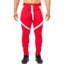 Men's Simple Fashion Colorblock Patched Drawstring Waist Zippered Vent Slim Sport Joggers Sweatpants