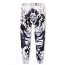 Popular Fashion Anime Figure Printed Drawstring Waist Black and White Casual Sport Sweatpants