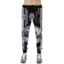 Popular Fashion Dollar Printed Drawstring Waist Black Casual Loose Sport Sweatpants