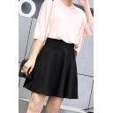 Summer Girls Trendy Solid Color High Rise Mini A-Line Flared Skirt