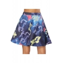 Fashion Blue Galaxy Unicorn Printed High Rise Mini A-Line Skater Skirt