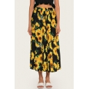 Summer Boho Style Sunflower Pattern Elastic Waist Maxi Holiday Beach Skirt