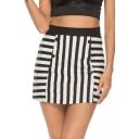 Fashion Black and White Striped Print High Rise Mini A-Line Skirt