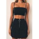 Fancy Black Vertical Striped Print Zipper Front Mini Bodycon Skirt