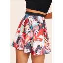 Red Comic Cartoon Girl Printed High Rise Mini A-Line Skirt