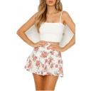 Girls Summer Chic Floral Printed Mini A-Line Chiffon Ruffled Short Skirt