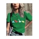 Summer Girls Popular Green Cartoon Dinosaur Print Short Sleeve T-Shirt