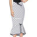 Womens Classic White Polka Dot Printed Bow-Tied Embellished Midi Bodycon Ruffled Skirt