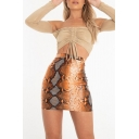 Womens New Stylish Snakeskin Printed High Rise Mini Bodycon Skirt