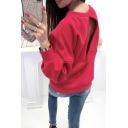 Womens Sexy Hollow Out Back Basic Round Neck Long Sleeve Plain Sweatshirt
