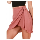 New Stylish Simple Solid Color Mini Linen Wrap Skirt