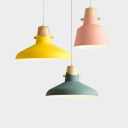 Single Light Barn/Bucket Hanging Pendant Lamp Macaron Metal Shade Drop Light in Green/Pink/Yellow