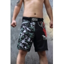 Cool Fashion Black and Green Colorblocked Skull Printed Elastic Waist Loose Fit Boxing Shorts