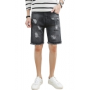 Summer Fashion Solid Color Ripped Detail Fringed Trim Black Denim Shorts for Men