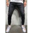 Men's Popular Fashion Contrast Stripe Side Elastic Cuffs Black Stretch Slim Fit Jeans