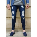 Men's Fashion Simple Plain Casual Slim Fit Dark Blue Ripped Jeans