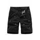 Men's Summer Stylish Embroidery Pattern Casual Zip-fly Cotton Chino Shorts