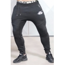 Men's New Fashion Logo Printed Pleated Patch Drawstring Waist Skinny Fit Casual Cotton Sweatpants