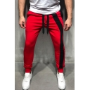 Men's New Fashion Colorblock Stripe Patched Drawstring Waist Casual Pencil Pants