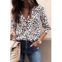 Womens Trendy Leopard Print Long Sleeve Lapel Collar Button Down Shirt