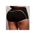 Summer Fashion Black Contrast Piping Running Bum Lift Shaping Yoga Shorts