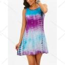 Unique Blue and Purple Tie Dye Round Neck Sleeveless Hollow Lace Back Mini Tank Dress