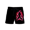 Hot Fashion Comic Figure 3D Print Black Drawstring Waist Beach Shorts Swim Trunks for Guys