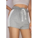 Summer Stylish Two-Tone Color Block Drawstring Waist Pull-On Shorts Sweat Shorts