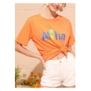 Womens Summer Girls Fashion Orange Letter Pineapple Print Short Sleeve Casual Tee