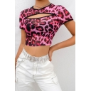 Trendy Sexy Cutout Front Red Leopard Print Round Neck Short Sleeve Womens Slim Mesh Crop Tee