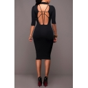 Womens Simple Plain Sexy Strappy Cut Out Back High Neck Midi Bodycon Pencil Dress