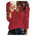 Womens Hot Trendy Simple Plain V-Neck Long Sleeve Casual Tee