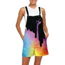 Womens New Trendy 3D Galaxy Dropped Drink Print Casual Loose Overall Shorts