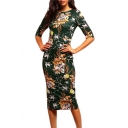 Womens Summer Fancy Floral Printed Round Neck Half Sleeve Midi Pencil Dress