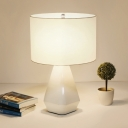 White Drum Shade Table Light Simple Style Fabric 1 Head Night Light with Resin Base