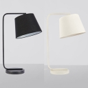 Single Head Tapered Standing Desk Lamp Contemporary Fabric Shade Table Light in Black/White
