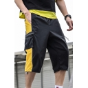 Men's Summer Trendy Colorblock Patched Drawstring Waist Casual Beach Cargo Shorts with Side Zipped Pocket