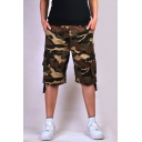 Men's Cool Fashion Camouflage Printed Flap Pocket Side Ribbon Embellished Loose Cotton Cargo Shorts