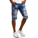 Men's Summer New Fashion Classic Washed Rolled Cuffs Blue Zip-fly Ripped Denim Shorts