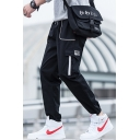 Men's New Fashion Letter Patchwork Drawstring Waist Elastic Cuffs Black Leisure Cargo Pants